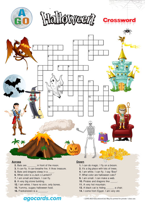 AGO Halloween Crossword Worksheet